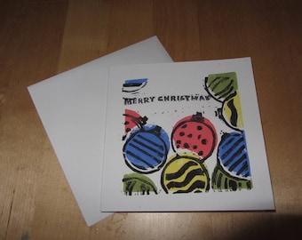 Bauble Lino printed Christmas card