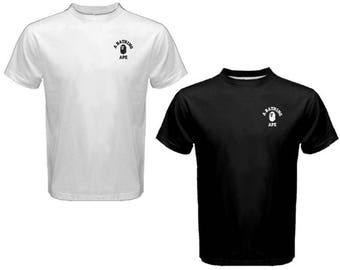 New A BATHING APE BAPE - Custom t shirt S-2XL Black or White tees