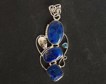 New Jewellery Natural Blue Lapis Lazuli Gemstone Women Pendant, 925 Solid Sterling Silver Jewelry, Handmade Gift For Her, Best Price FSJ-803