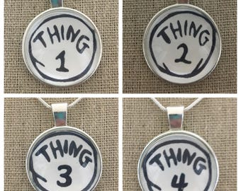 Thing 1 thing 2 pendant necklace.Cat in tne hat pendant.Thing 1 thing 2 thing 3 thing 4 pendant.Cat in the hat jewelry