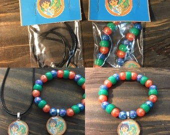 Go Diego go party favors.Diego bead bracelet.Diego pendant necklace.Diego jewelry.Diego birthday party