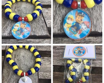 Paw patrol party favors.paw patrol bead bracelet .Paw patrol pendant necklace .Paw patrol jewelry .Paw patrol birthday party
