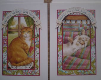 Set of 8 cat postcards - 4 of each design
