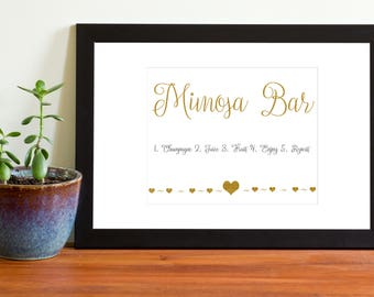 Mimosa Bar Sign, Printable Wedding Sign, Instant Download, Black and Gold