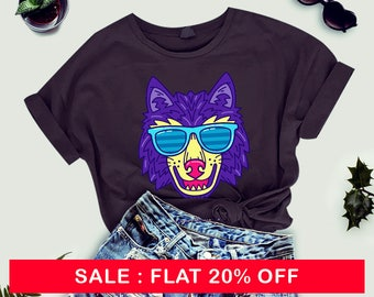 Wolf tshirt for women, watercolor TShirts - Animal tshirt - Womens Graphic Tees Shirts - Teens Girls printed TShirt, wolf shirt