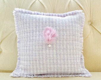 Decorative cushion cover for living room and bedroom in Tweed fabric purple with Pearl and pink rabbit fur hand embroidered.