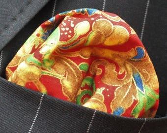 Hankie Pocket Square Metallic Japanese Floral - Premium Cotton - UK Made
