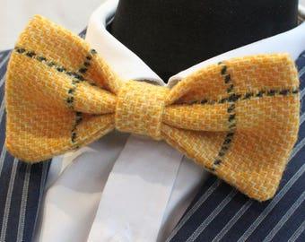 Bow Tie. UK Made. Harris Tweed Yellow. Wool. Premium Quality. Pre-Tied.