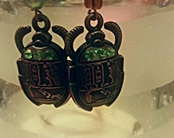 Egyptian Scarab bronze and green earrings