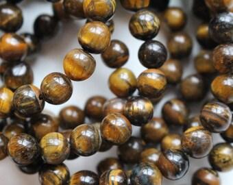 6mm Tigereye beads, full strand, natural stone beads, round, 60066