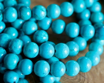 8mm Hubei Turquoise beads, full strand, natural stone beads, round, 80030