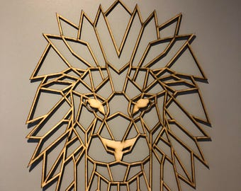 Geometric wooden lion wall decoration