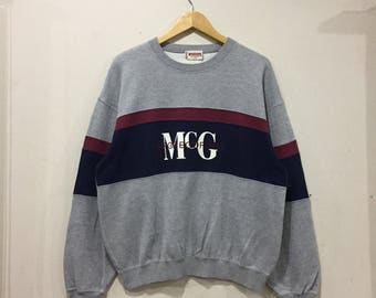 vintage!!! Mc GREGOR vintage sweatshirt spell out embroidered big logo... colour block... sportswear.. size L