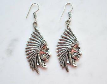 Native American Earrings, Indian Earrings, Silver Earrings, Indian Face Earrings, Silver Indian Chief Earrings, Tribal Face Earring