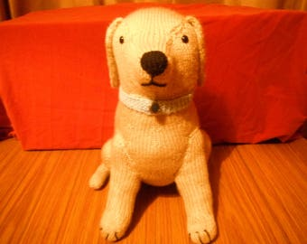 hand knitted  light golden labrador dog sat up  toy gift dog lover