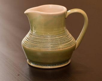 Small Green Stoneware Pitcher