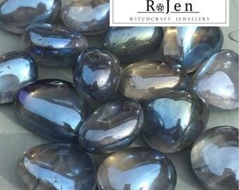 18ct Gold Fused Aqua Aura Clear Quartz Tumbled Stones