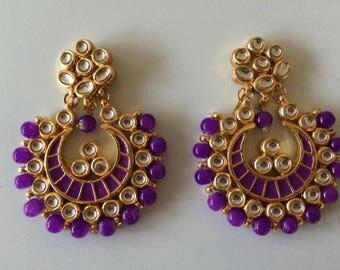 Kundan Chandbali earrings with violet beads and meenakari
