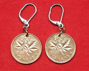 1958 earrings made with real under Canadian 1958