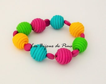 Multicolor bracelet with polymer clay
