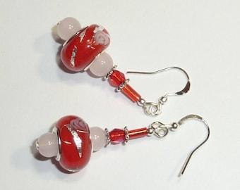 """""""red Silver"""" Silver earrings jewelry"""
