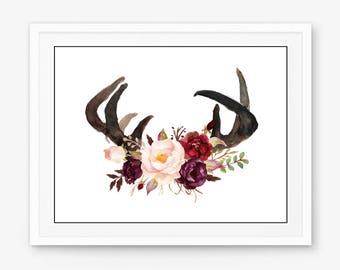 Antler print, deer antler print, antlers print, deer antlers print, antlers printable, antler printable, antlers with flowers, antlers art