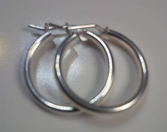 Earrings in Sterling Silver, Hoop Earrings in Sterling Silver