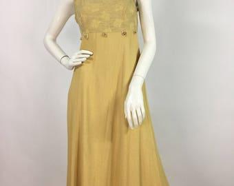 80s 90s Petite by Michael Phillips/mustard midi dress