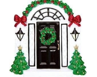 Elegant Black Door Personalized Christmas Ornament