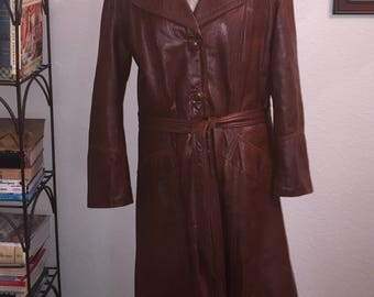 Vintage Leather Belted Trench Coat
