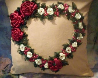 Hand embroidered pillow with silk ribbon and stones