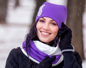 Lilac White Set Hat with Embroidery Rhinestones Infinity Scarf Large Wraparound Warm Winter Beanie Neckwarmer Scarf Christmas Gift For Her