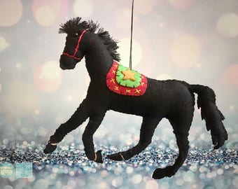 hand stitched black horse Christmas Handcrafted felt Christmas tree decoration / felt hanging ornament chic felt / primitive decoration