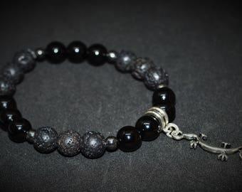 Onyx, lava stone and hematite bracelet