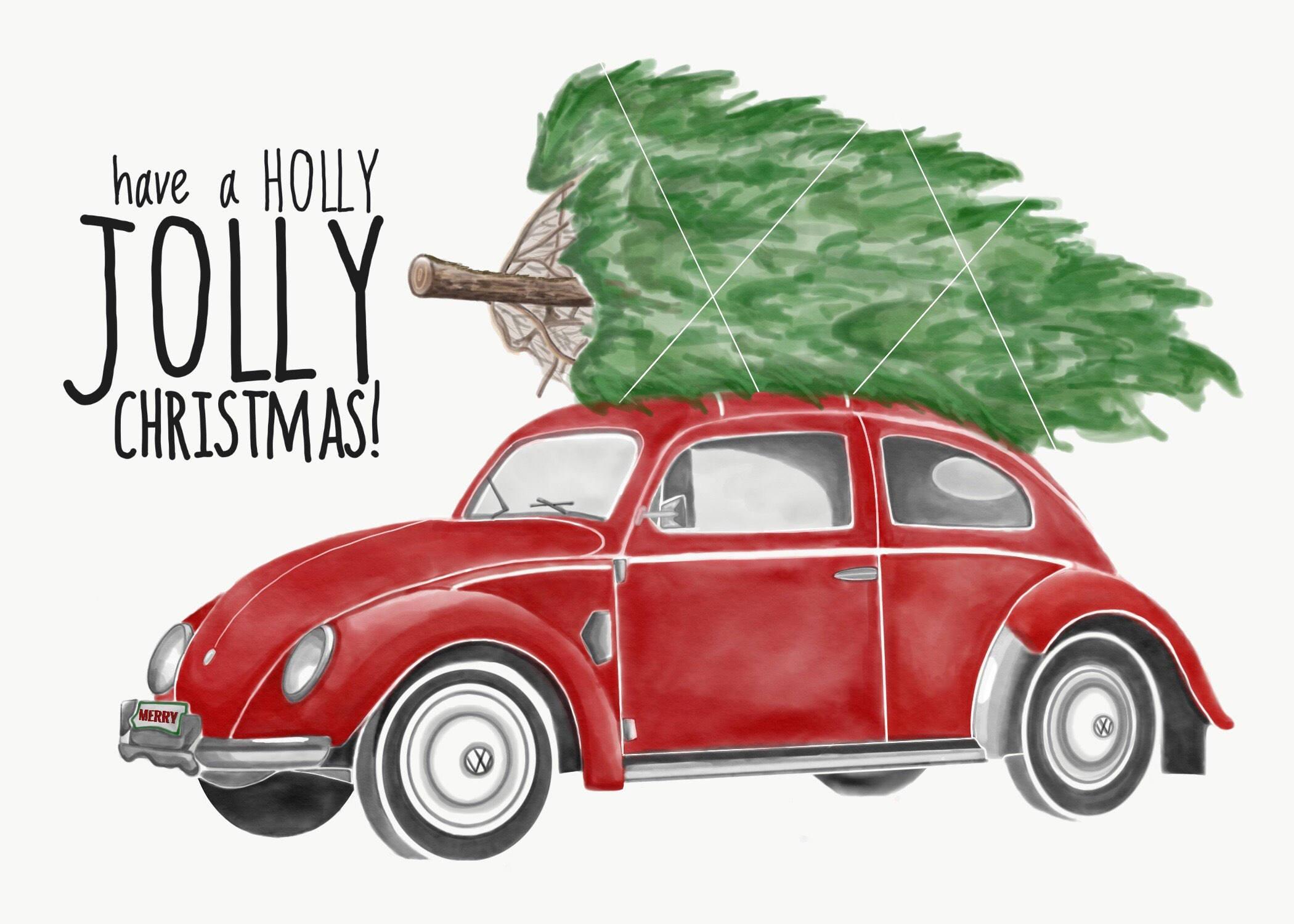red vw bug vw beetle vintage christmas tree christmas