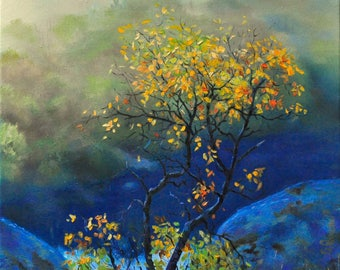 Art ORIGINAL FINE ART Landscape painting Oil Autumn painting by B.Ryngach