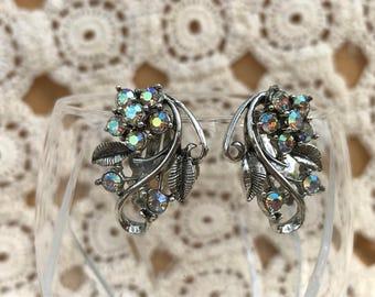 Clear Aurora Borealis Clip Earrings, Rhodium, Floral
