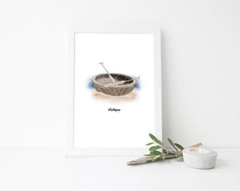 Vietnam Travel Art Print - Basket Boat