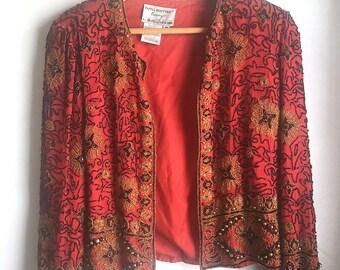 Vintage - Womens - 1980s - Fully Beaded - Bolero Style Open Cardigan // Blazer - Black and Gold - 100% Silk - Size M