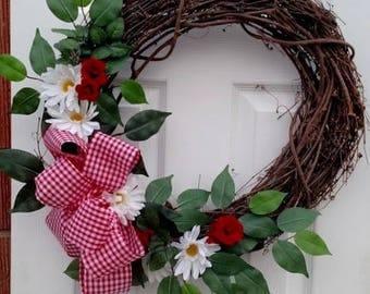 Red Wreath, Gingham Wreath, Daisy Wreath, Country Wreath, Rustic Wreath,  Farmhouse