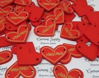 "23x30mm Wooden Red Heart Shape Pre Craved ""Hand Made"" in Natural Wood Color Buttons/ Label – 5 Count"