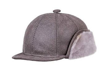 SHEEPSKIN HAT LEATHER cap for men New hat with earflap Trapper hat New pilot aviator brown hat Winter beanie Christmas leather gift for men