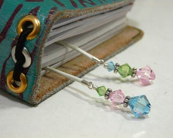 Pastel colours - Leather Bookmark for TN Planner or Book with Swarovski Crystals