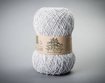 Light grey yarn Eco yarn Cotton yarn Linen yarn Summer yarn Crochet yarn Ethno-cotton 1200 Cotton linen yarn Premium yarn Baby yarn