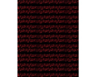 Unique High Quality Black/Red Music Sheet Gift Wrapping Paper-Size A3