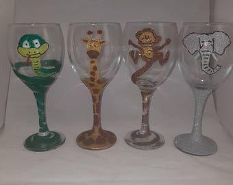 Glitter glasses, glittered animals, snake glitter glass, giraffe glitter glass, monkey glitter glass, elephant glitter glass, glass gift set