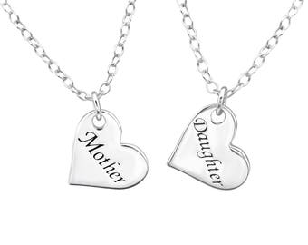 Silver Mother And Daughter Necklaces