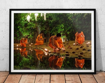 Buddhist Monks Photo // Thailand Print, Buddhist Decor, Travel Photography, Asian Wall Art, Buddhism, Southeast Asia, Photography of Asia