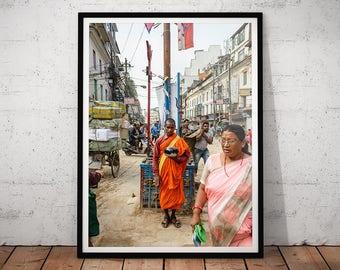 Nepal Monk Photo // Asia Travel Photography Print, Asian Decor, Buddhist Monk Wall Art, Kathmandu Monk Home Decor, Buddhism Office Art