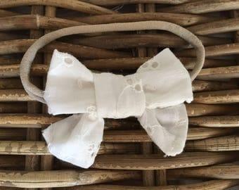 Dainty Eyelet Lace Bow Headband